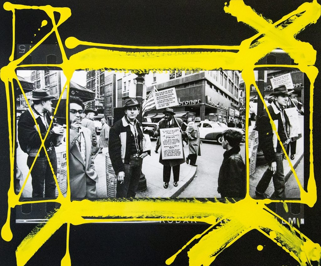 William Klein - 48th and 7th Ave. The sandwich preacher with sign, 1954-55