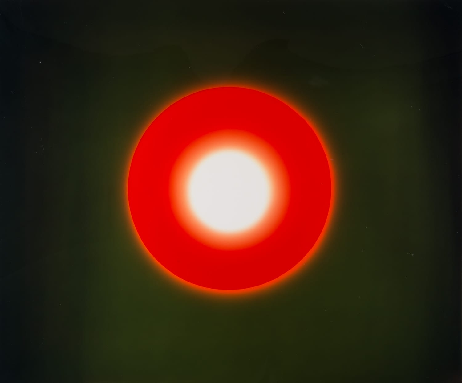 Garry Fabian Miller - burn brightly - hackelbury fine art- camera less photography - red circle on green background