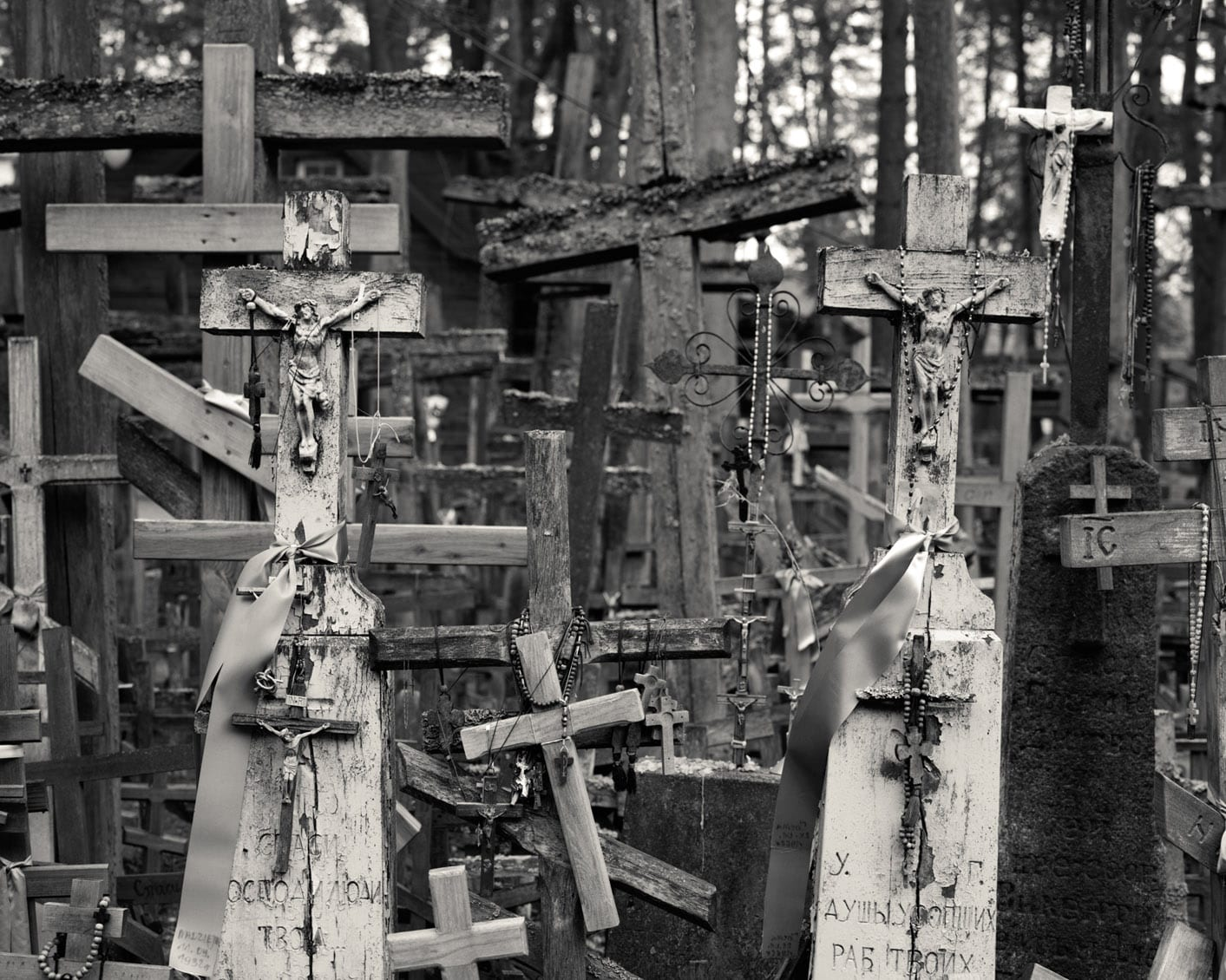 Untitled 36-Ex Voto-Alys Tomlinson-black and white photography- group of crosses