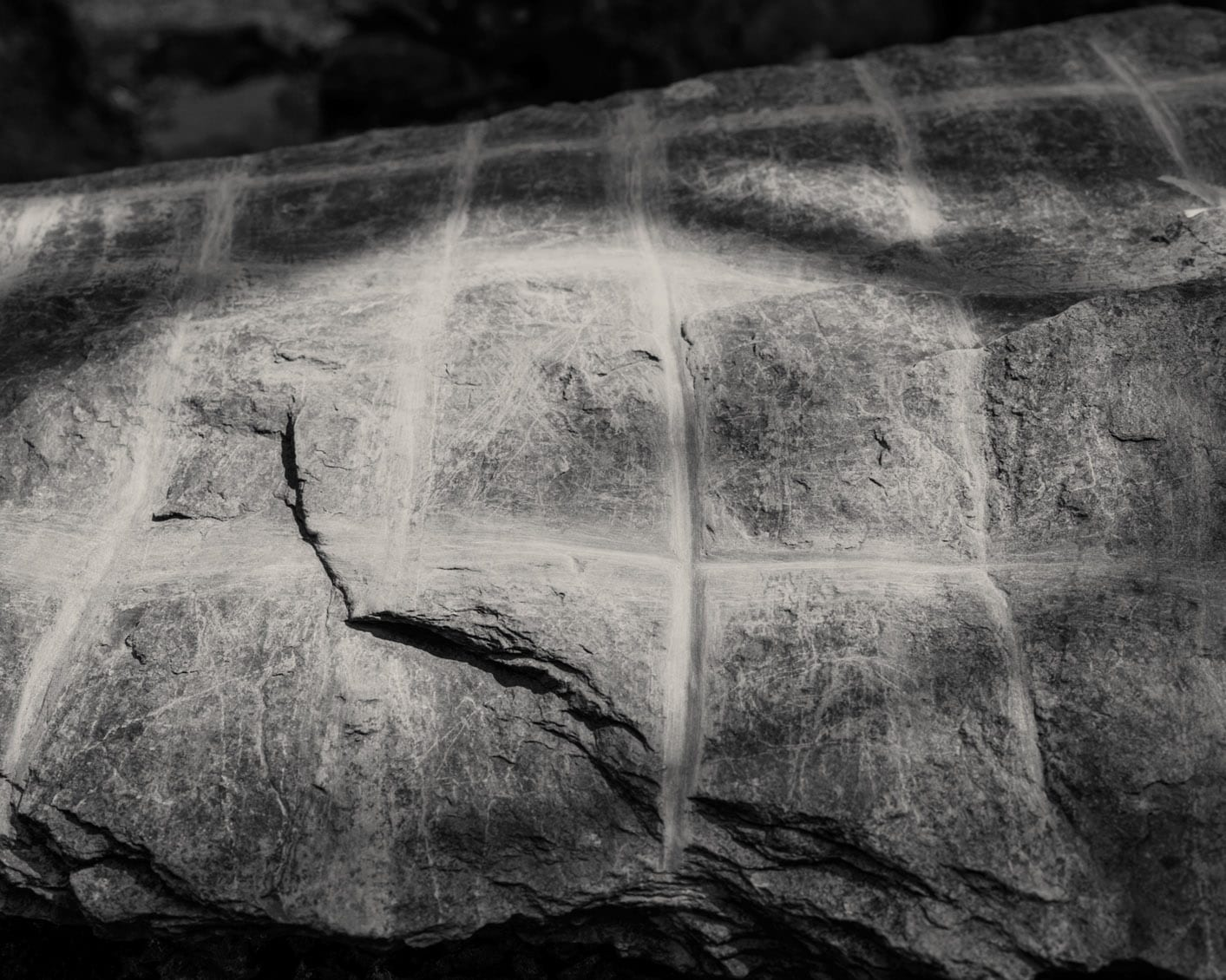 Untitled 40-Ex Voto-Alys Tomlinson-black and white photography-crosses carved into rock