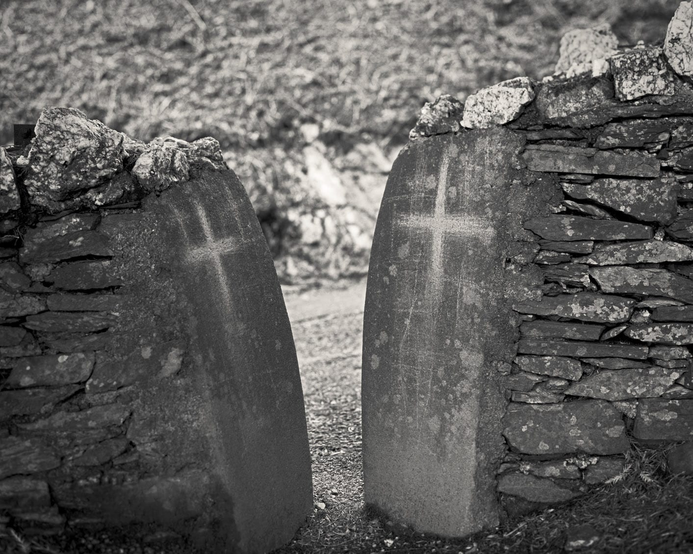 Untitled 43-Ex Voto-Alys Tomlinson-black and white photography-ex voto crosses carved into rocks