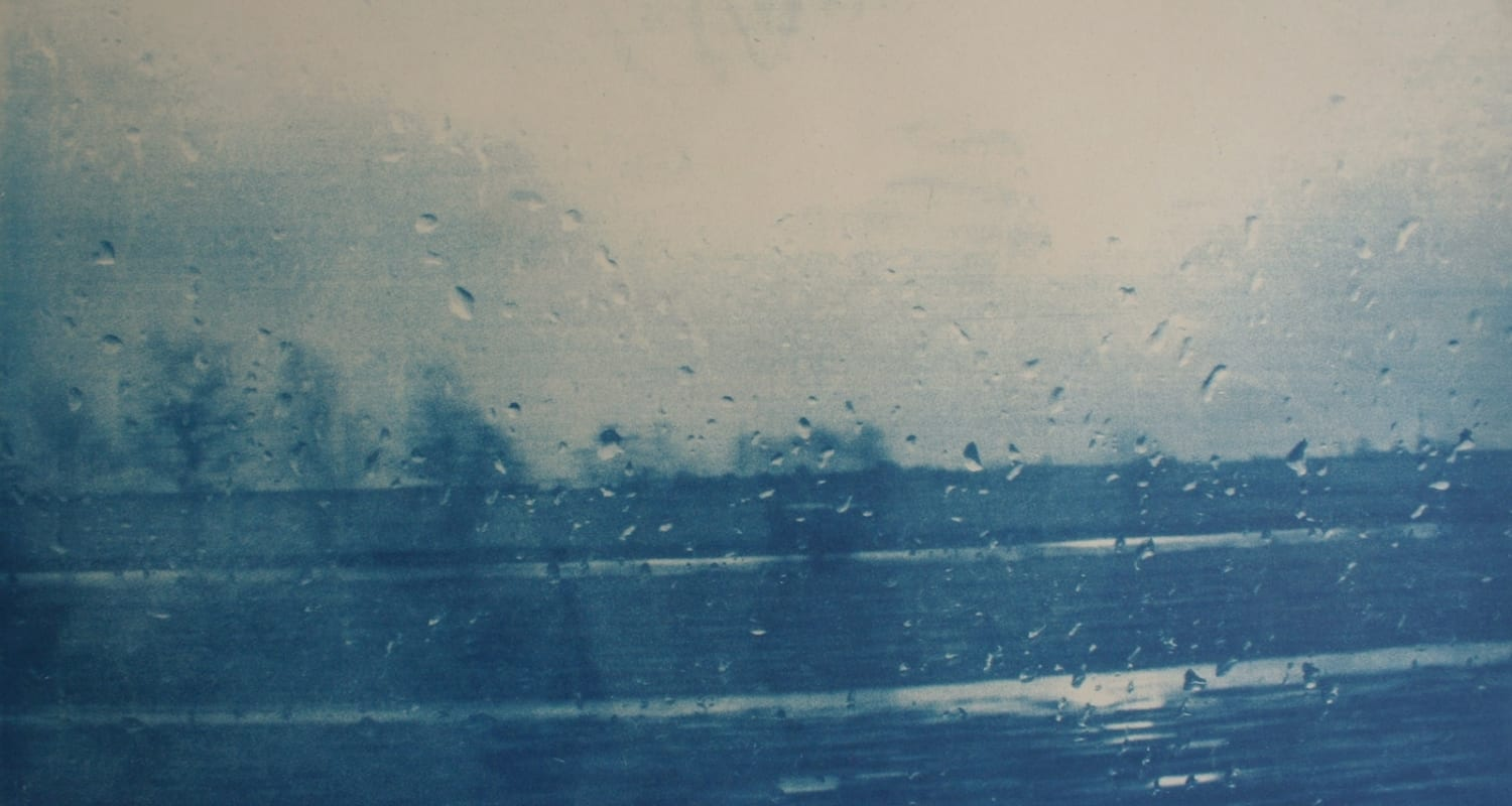 Katja Liebmann-HackelBury Fine Art-cyanotype photograph of blurred landscape taken from moving bus window