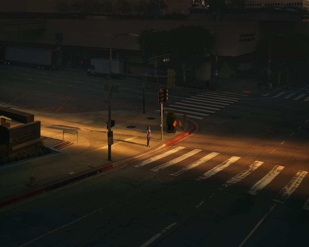 Oli Kellett Figueroa St, LA - HackelBury Fine Art London - photograph of woman in purple waiting alone on corner