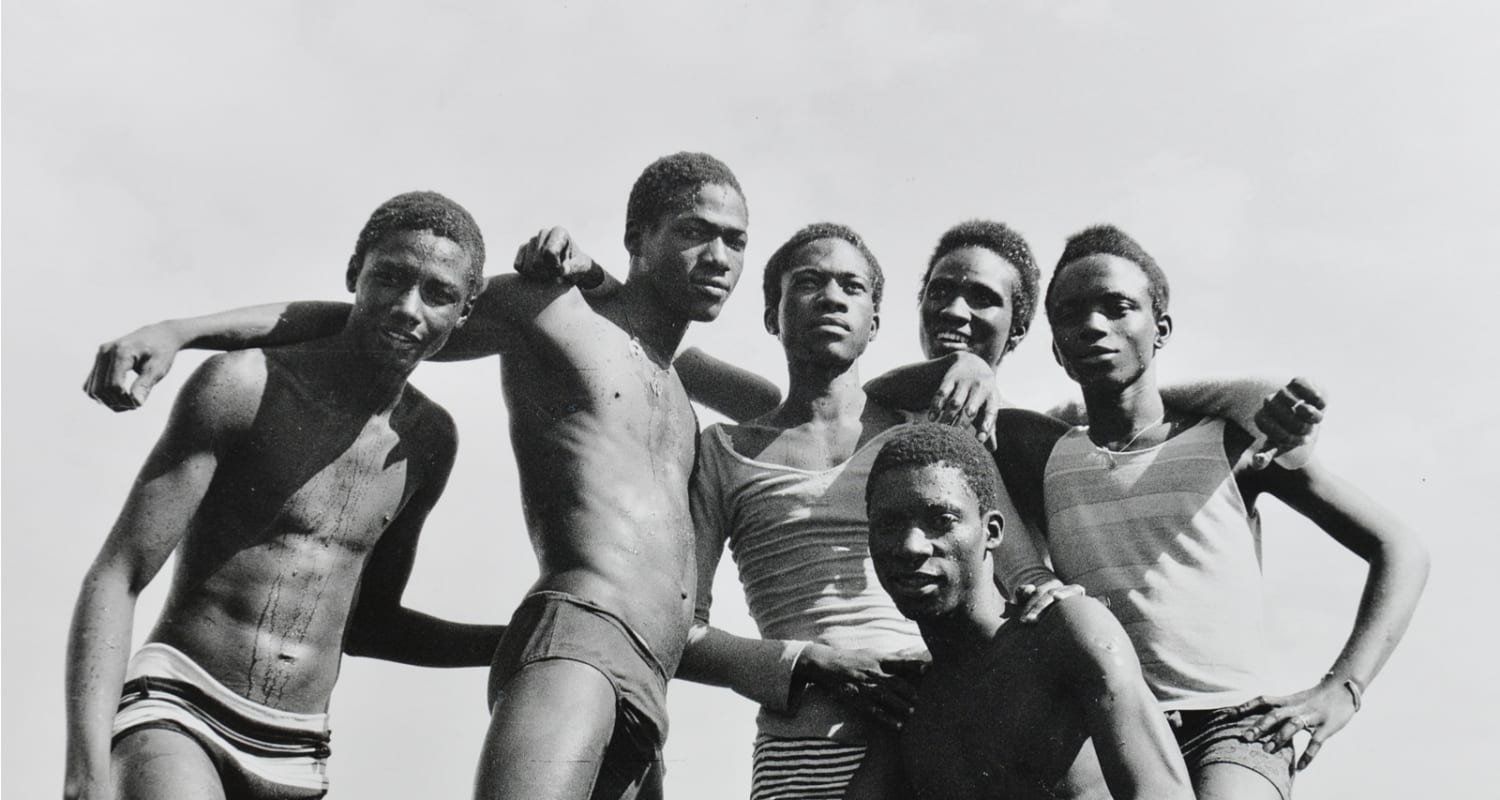 Malick Sidibé-HackelBury Fine Art-image detail-black and white photograph of group of boys on the beach