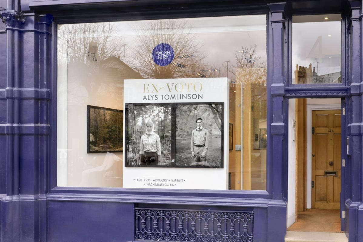 Alys Tomlinson HackelBury Fine Art - photography gallery London - storefront with two black and white photographs