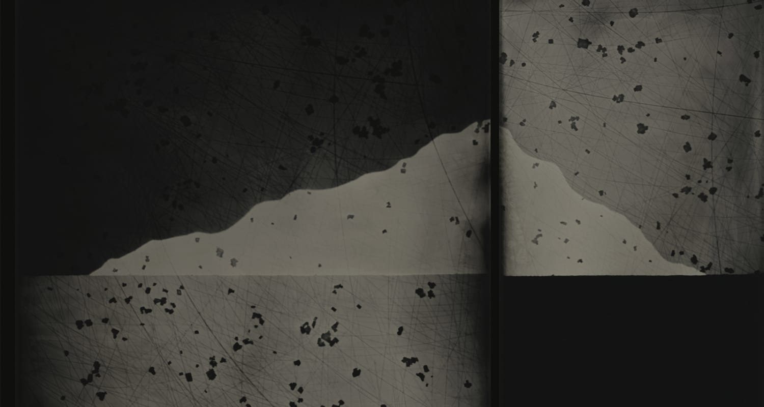 Nadezda Nikolova-Kratzer-Elemental Forms Landscape no 88-slideshow detail image-black and white wet plate collodion photogram-HackelBury Fine Art