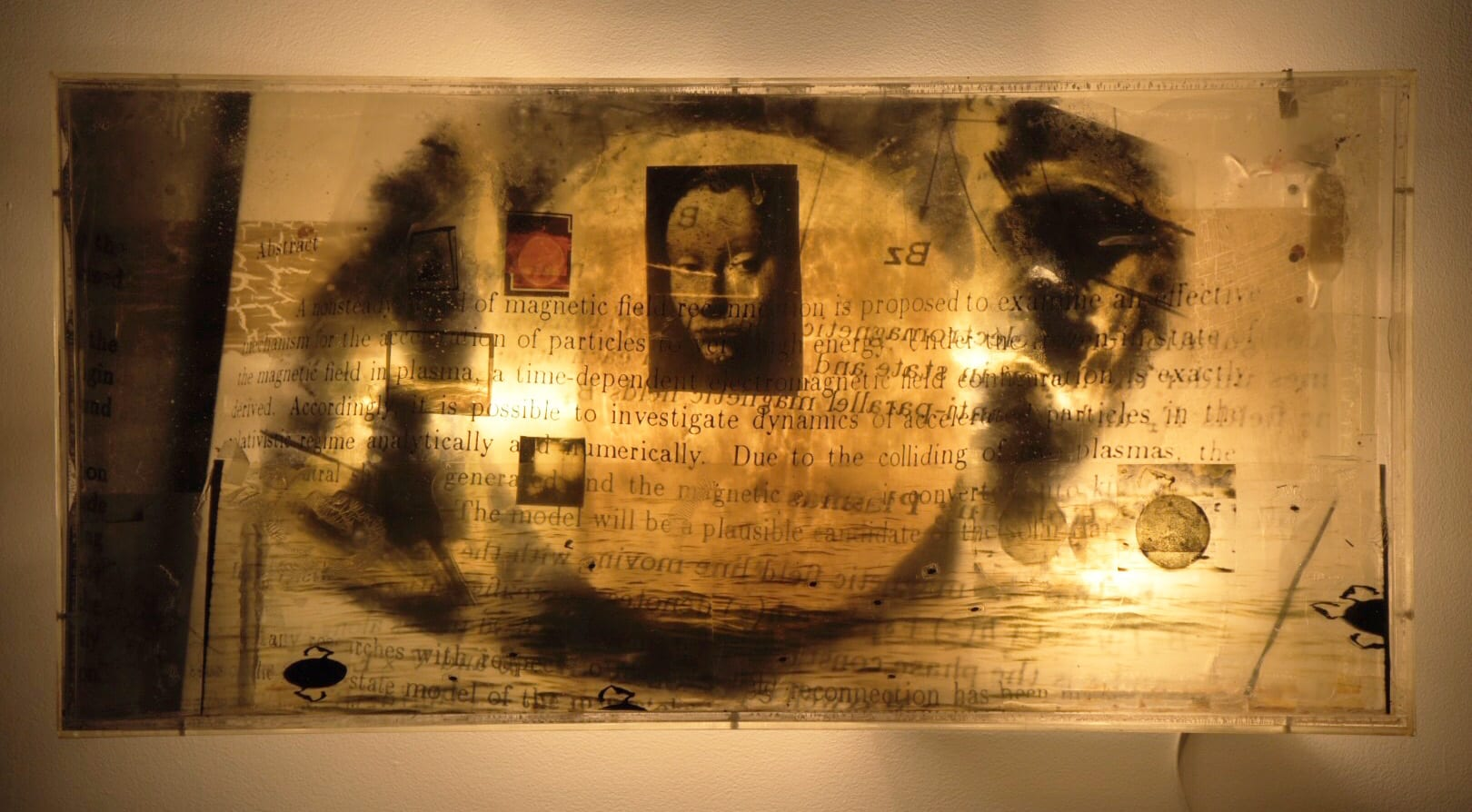 Doug and Mike Starn - HackelBury Fine Art London - Light box with photographs of text and a woman portrait