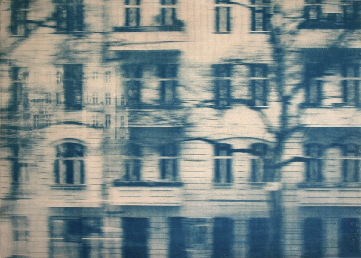 Dwellings,-Berlin-3-Katja Liebmann-HackelBury Fine Art-cyanotype photograph of building and trees