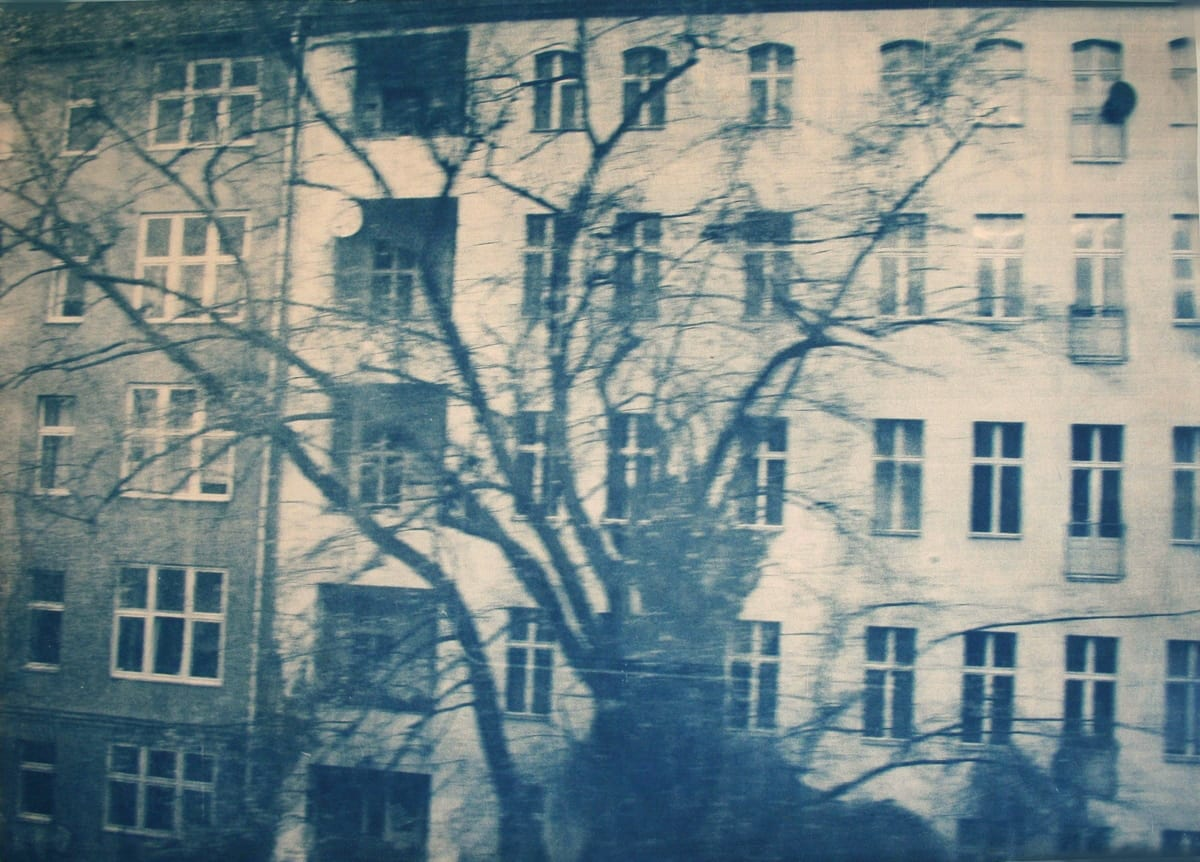 Dwellings,-Berlin-4-Katja Liebmann-HackelBury Fine Art-cyanotype photograph of building and trees