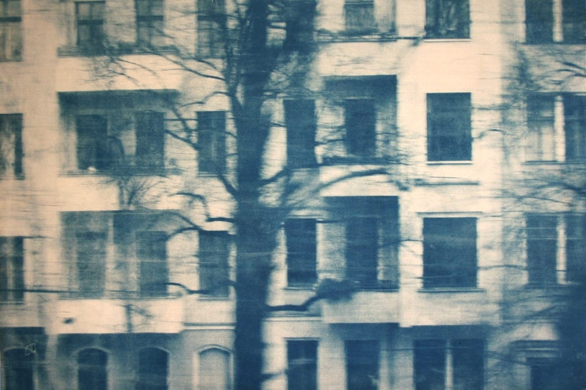 Dwellings, Berlin-5-Katja Liebmann-HackelBury Fine Art-cyanotype photograph of building and trees