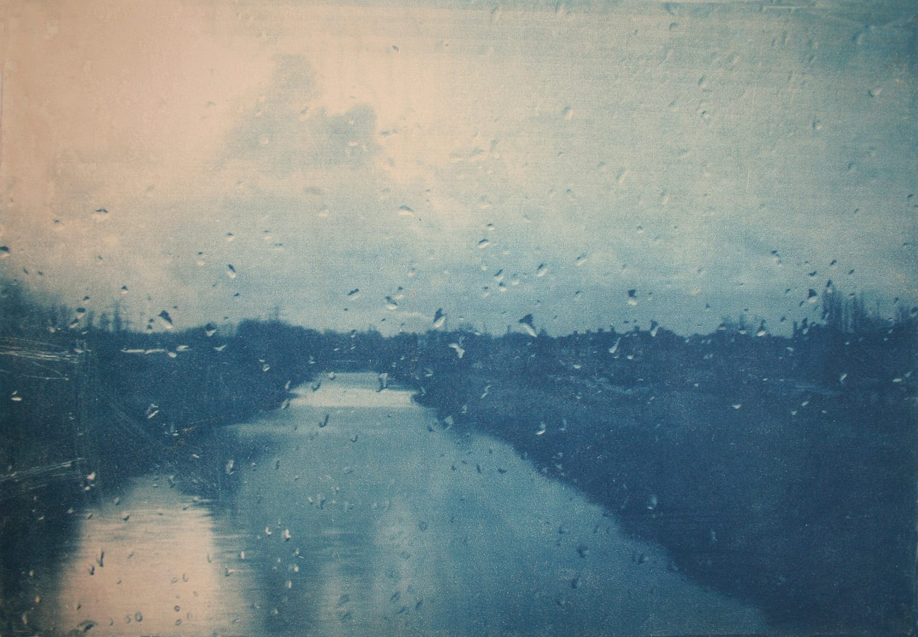 Journey-11-Katja Liebmann-HackelBury Fine Art-cyanotype photograph of river through rainy window