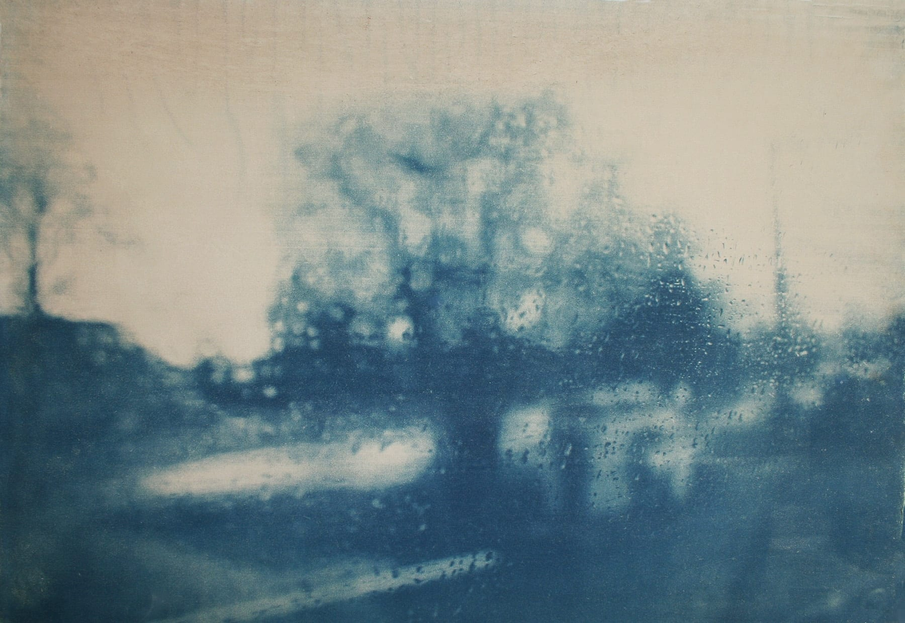 Journey-14-Katja Liebmann-HackelBury Fine Art-cyanotype photograph of blurry tree and landscape through rainy window