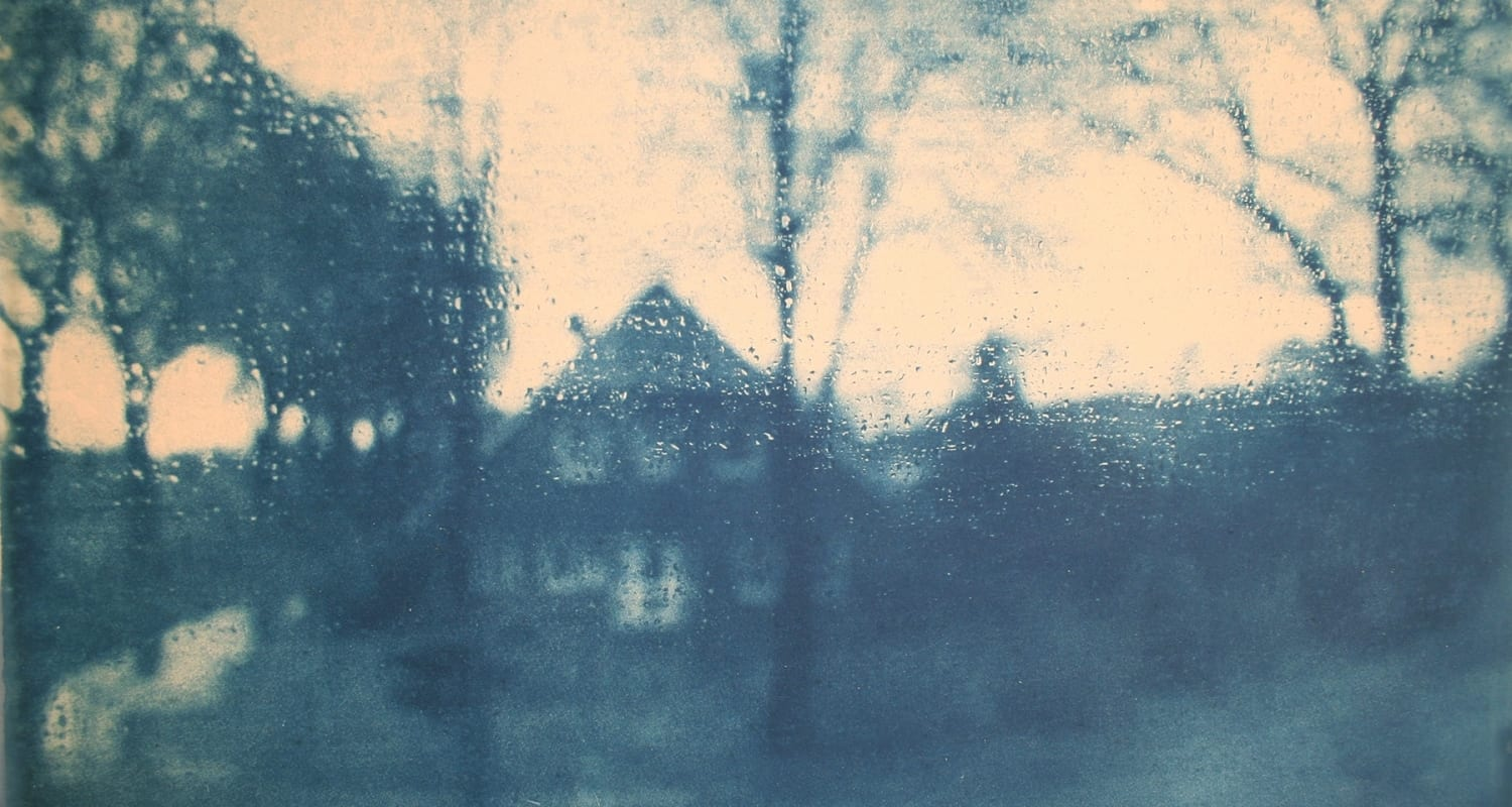 Journey-2-Katja Liebmann-HackelBury Fine Art-cyanotype photograph of blurry house and trees through rainy window