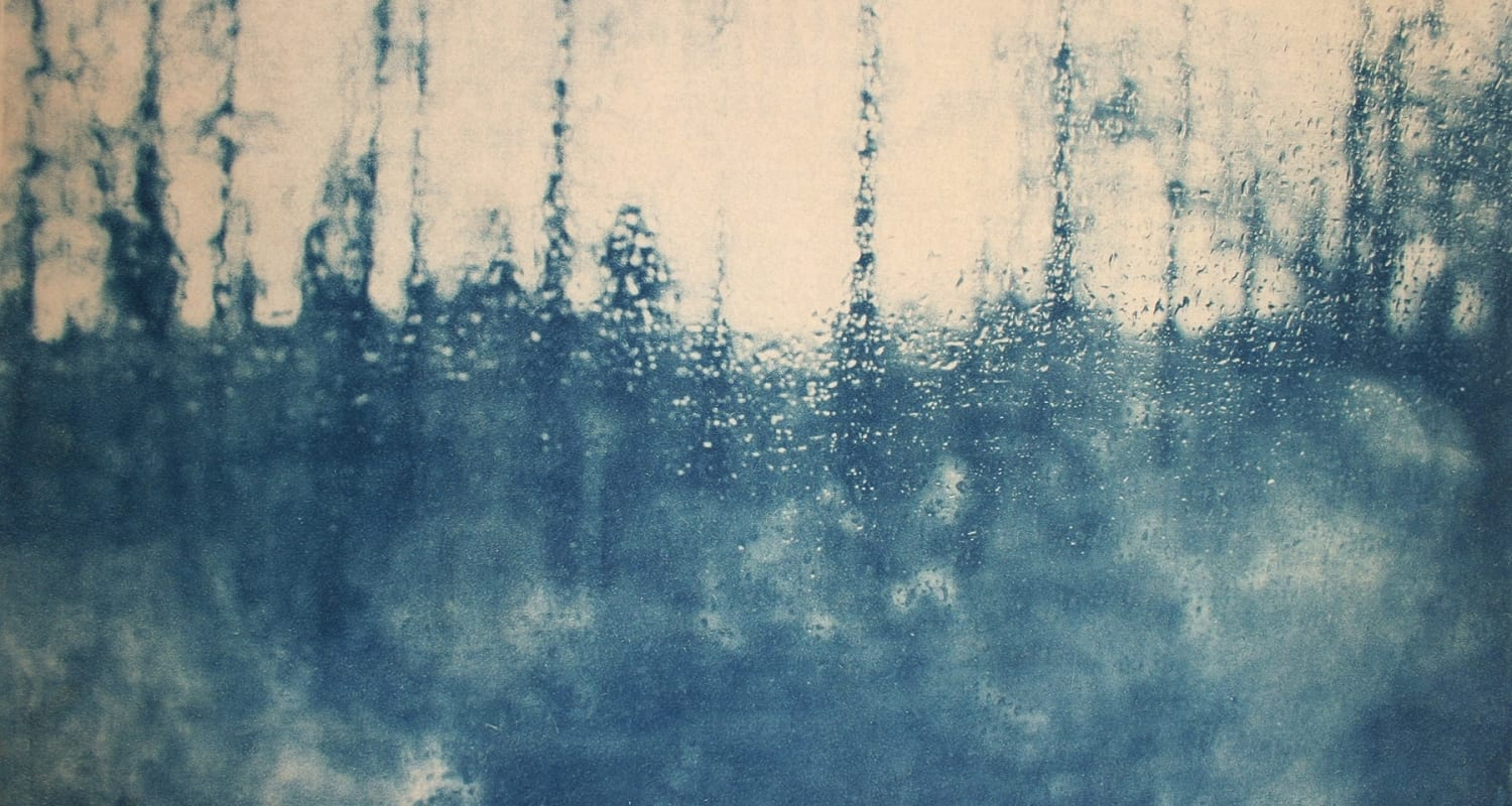 Journey-8-Katja Liebmann-HackelBury Fine Art-cyanotype photography of blurry trees through rainy window