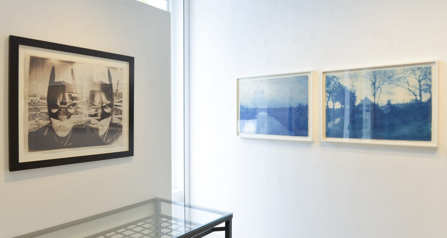 Katja Liebmann-HackelBury Fine Art London-Early Work Installation-1-Gotham City Batman Kallitype and Journeys landscape cyanotypes