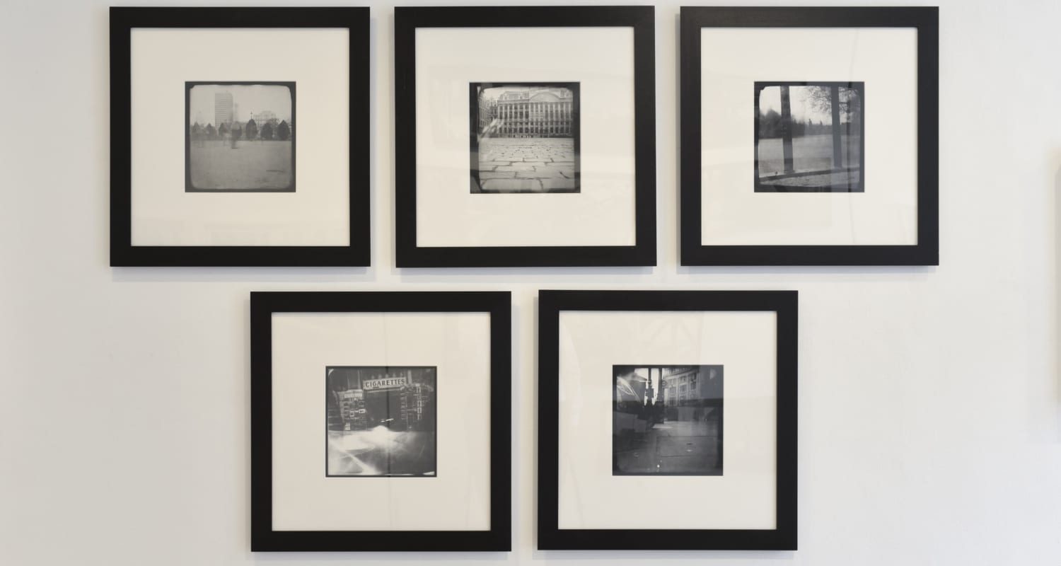 Katja Liebmann-HackelBury Fine Art London-Early Work Installation-3-London Brussels Pinhole Photographs-group of five black and white photographs
