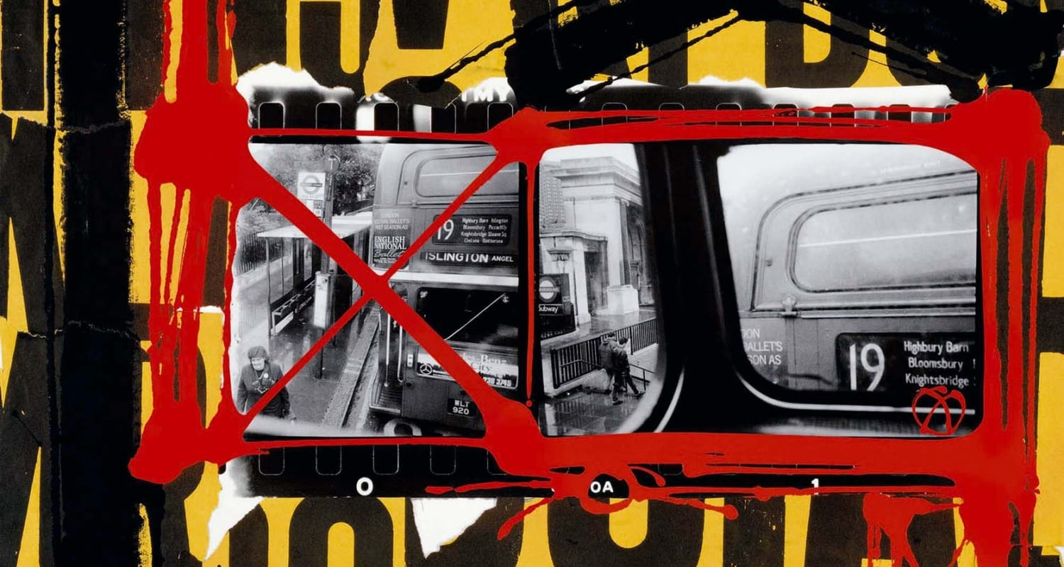 Bus 19, London 1989-2003-William Klein-HackelBury Fine Art London-black and white photograph of bus with yellow red and black painting around