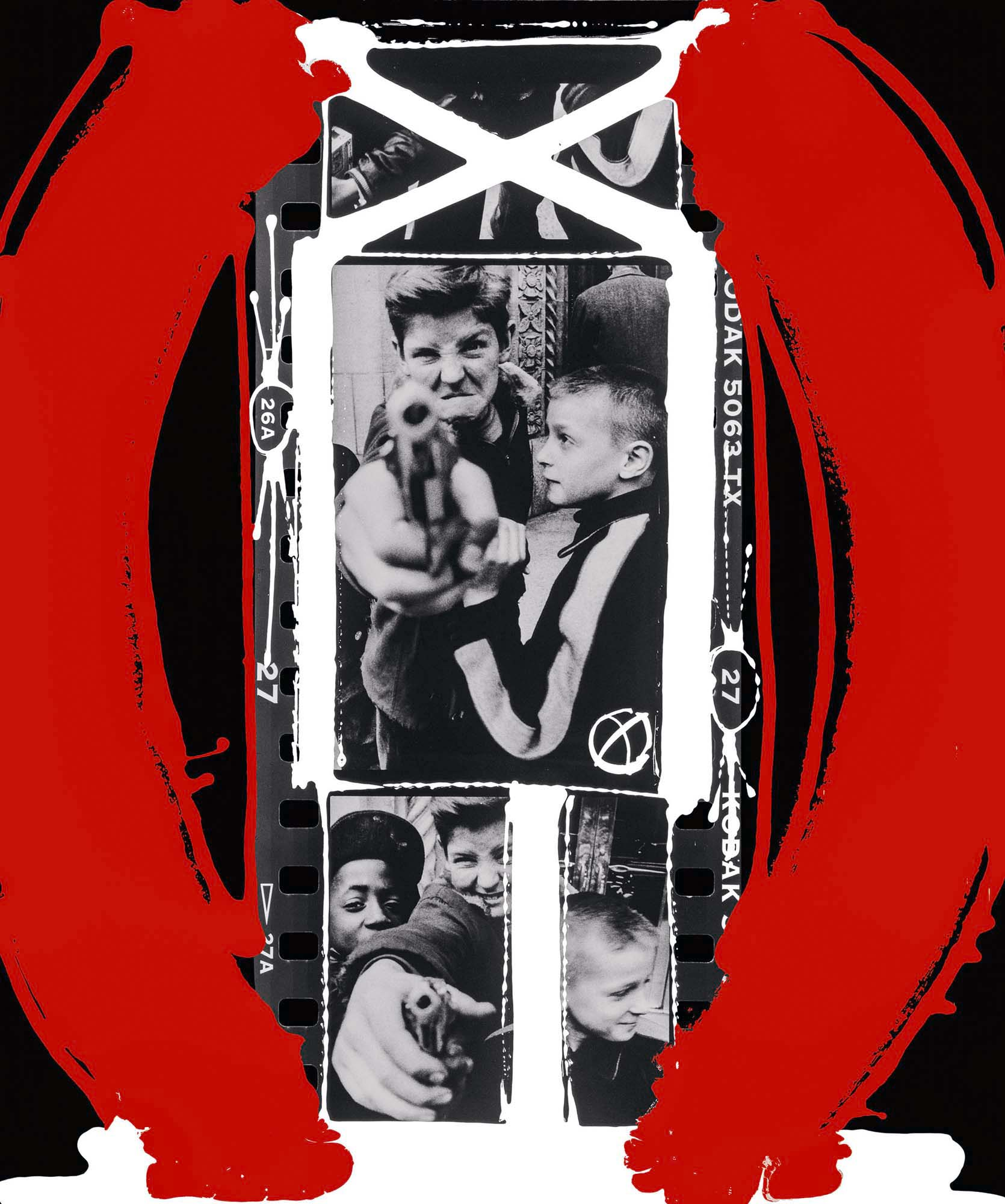 Gun 1, New York 1954-2004-William Klein-HackelBury Fine Art London-black and white photographs of kids with toy gun and red and white paint around