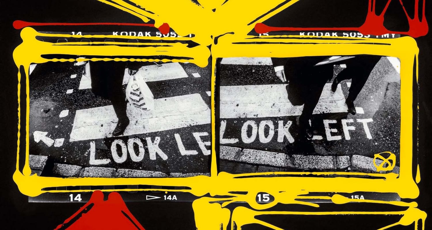 Look Left, London 1998-2006-William Klein-HackelBury Fine Art London-black and white photographs of london street with red and yellow paint around