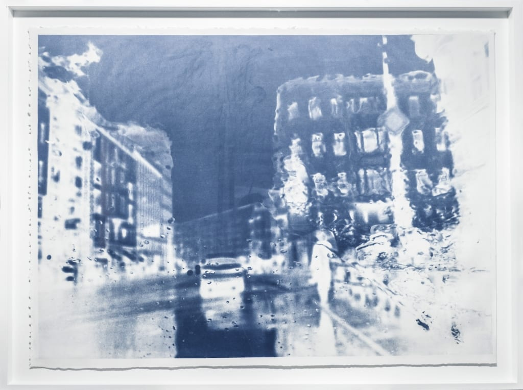 Katja Liebmann artwork - cyanotype photograph of rainy Berlin street