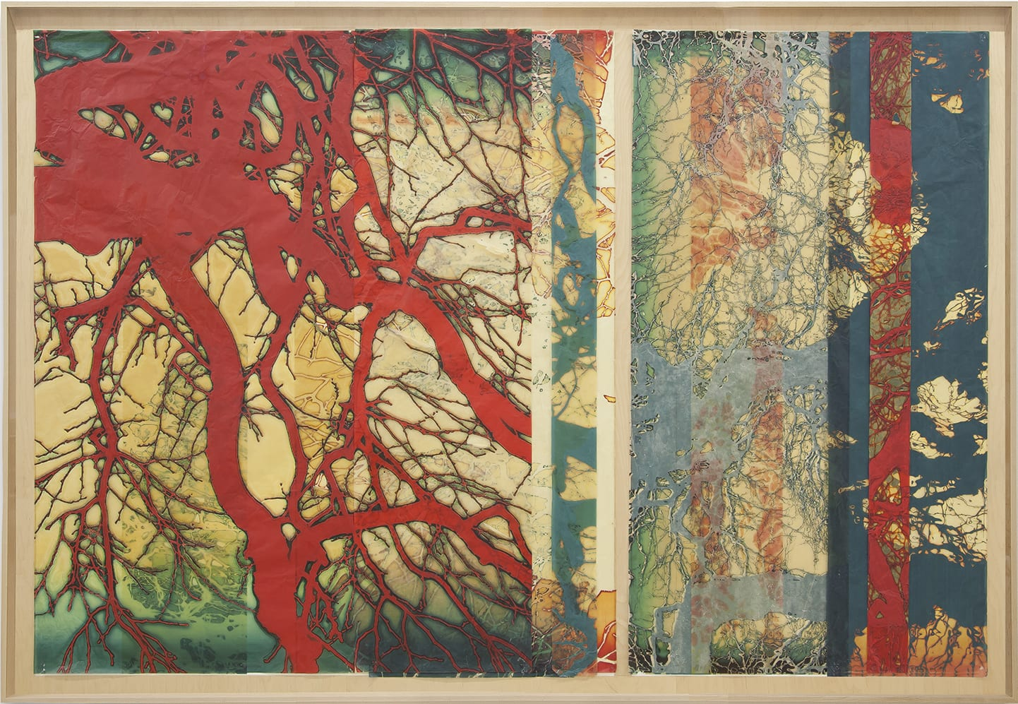 Doug and Mike Starn artwork - abstracted tree silhouettes layered in red blue and yellow