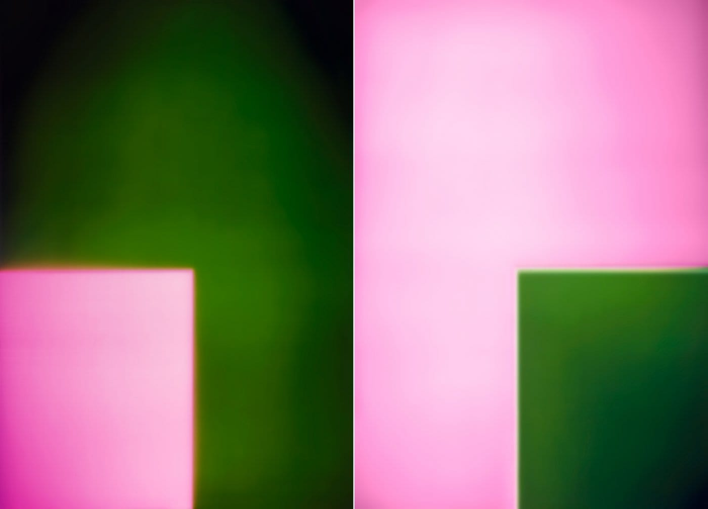 Garry Fabian Miller artwork abstract pink and green squares camera less artwork