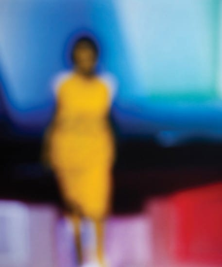 Bill Armstrong artwork-blurry figure in yellow dress on blue red pink backdrop