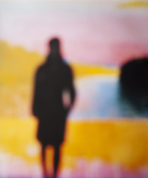 Bill Armstrong artwork-silhouetted figure on yellow pink blue backdrop