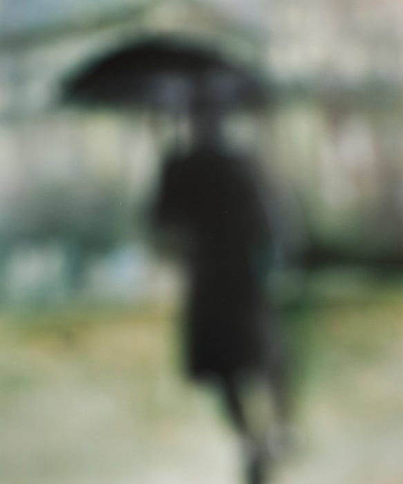 Bill Armstrong artwork-silhoutted figure with umbrella on green backdrop