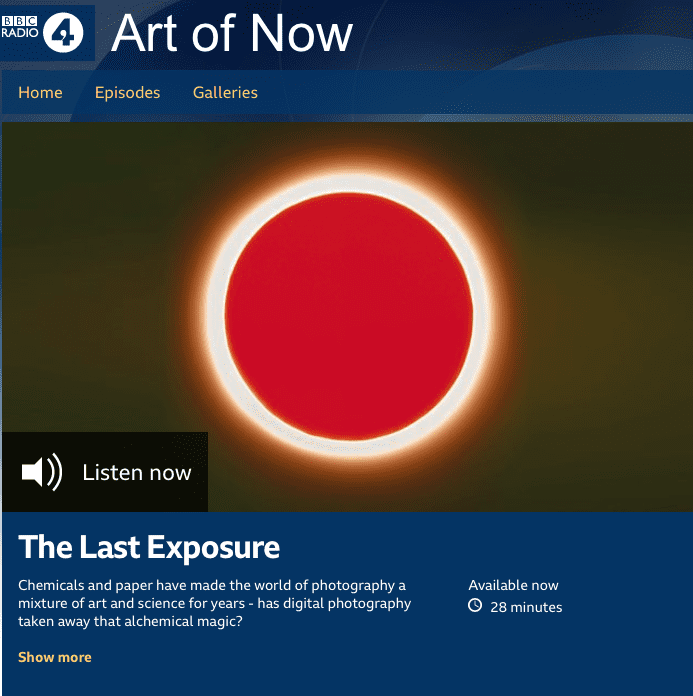 Garry Fabian Miller artwork on BBC Radio 4 Art of Now