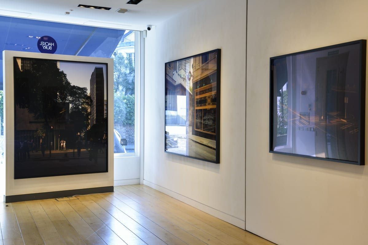 Art installation image-Oli Kellett-Cross Road Blues-gallery interior with photographic artworks on walls