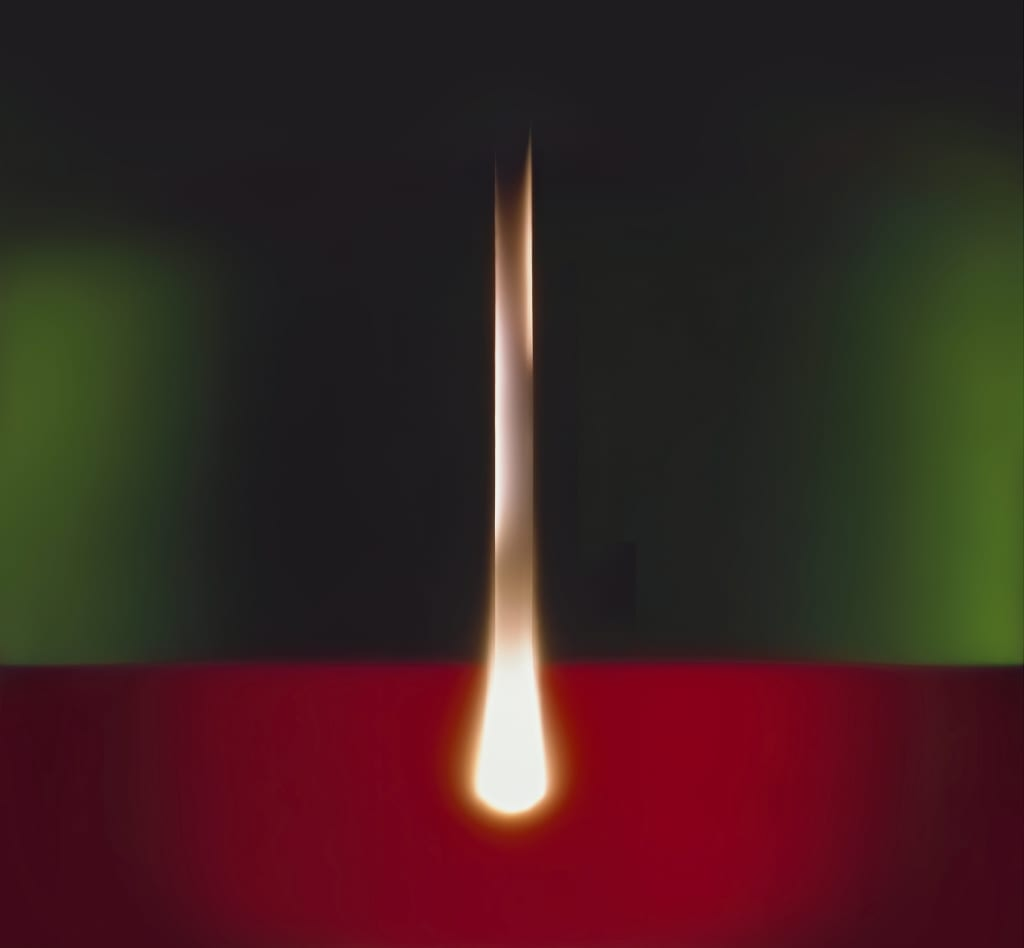 Artwork by Garry Fabian Miller vertical beam on the red and green background